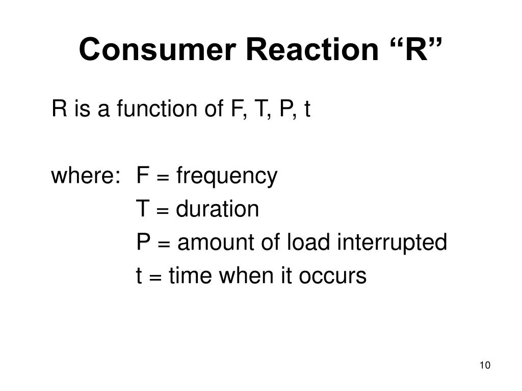 "Consumer Reaction ""R"""