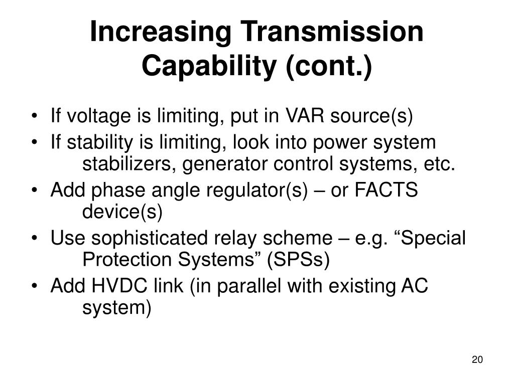 Increasing Transmission Capability (cont.)