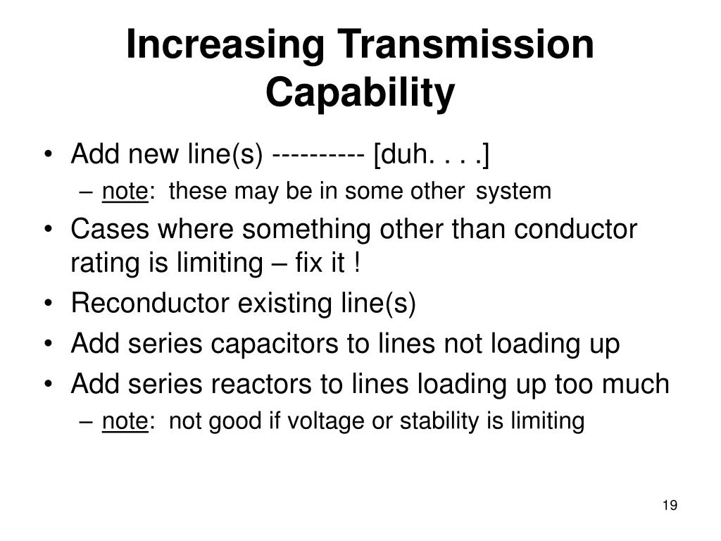 Increasing Transmission Capability