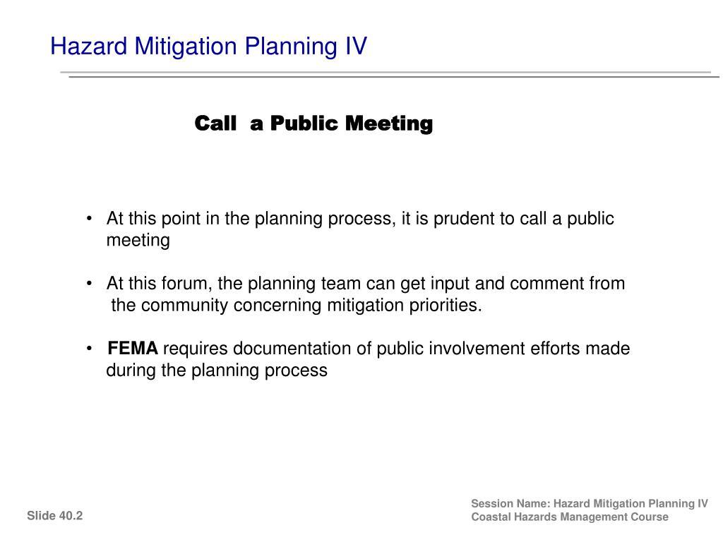 Hazard Mitigation Planning IV