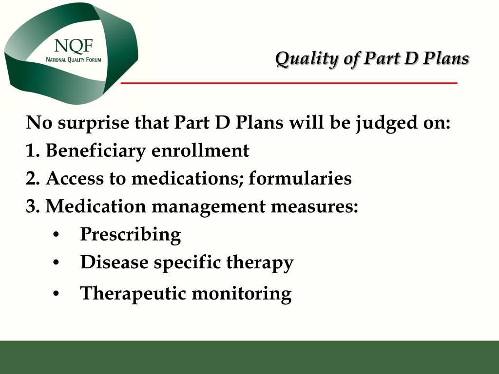 Quality of Part D Plans