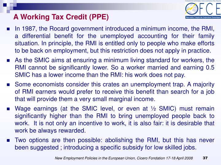 A Working Tax Credit (PPE)