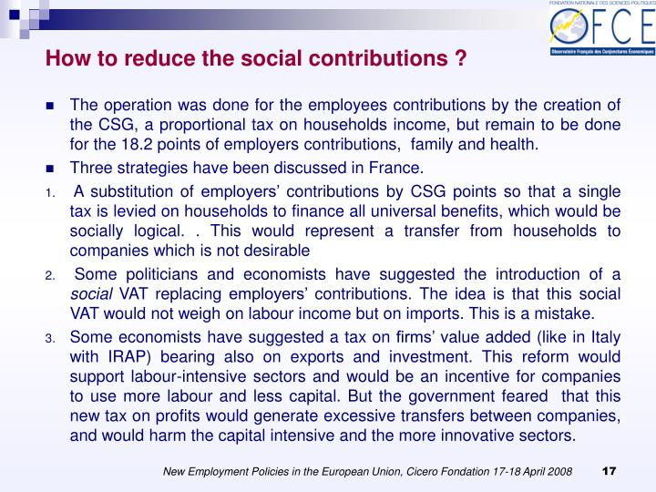 How to reduce the social contributions ?