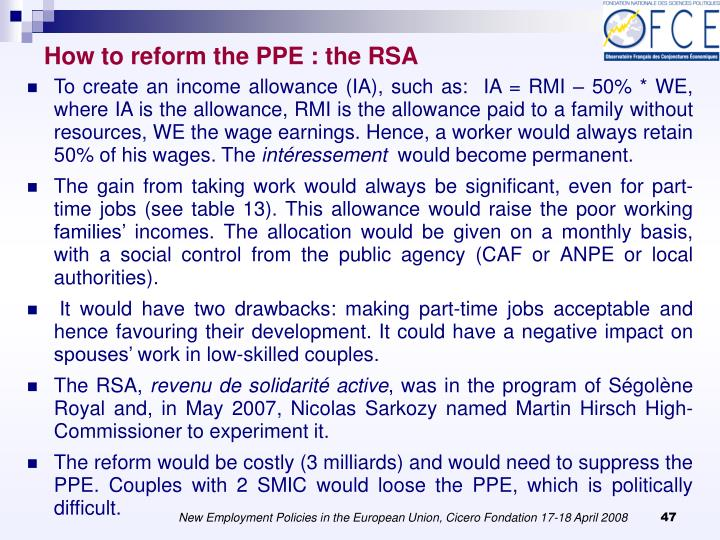 How to reform the PPE : the RSA