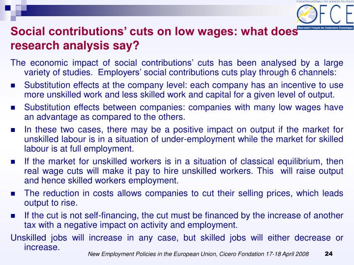 Social contributions' cuts on low wages: what does research analysis say?