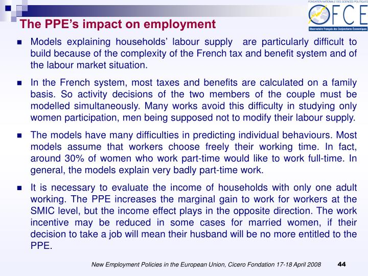 The PPE's impact on employment