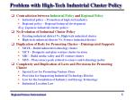 problem with high tech industrial cluster policy
