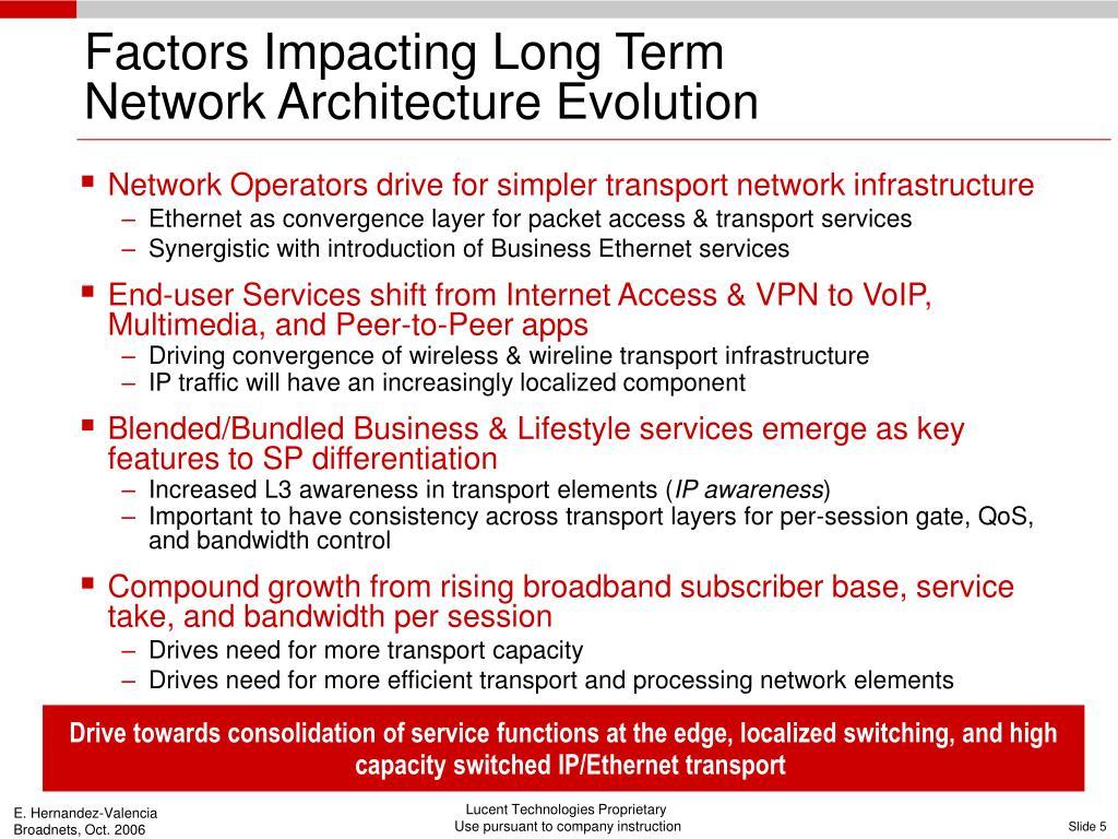 Factors Impacting Long Term             Network Architecture Evolution