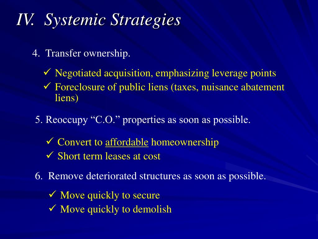 IV.  Systemic Strategies
