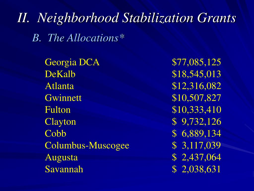 II.  Neighborhood Stabilization Grants