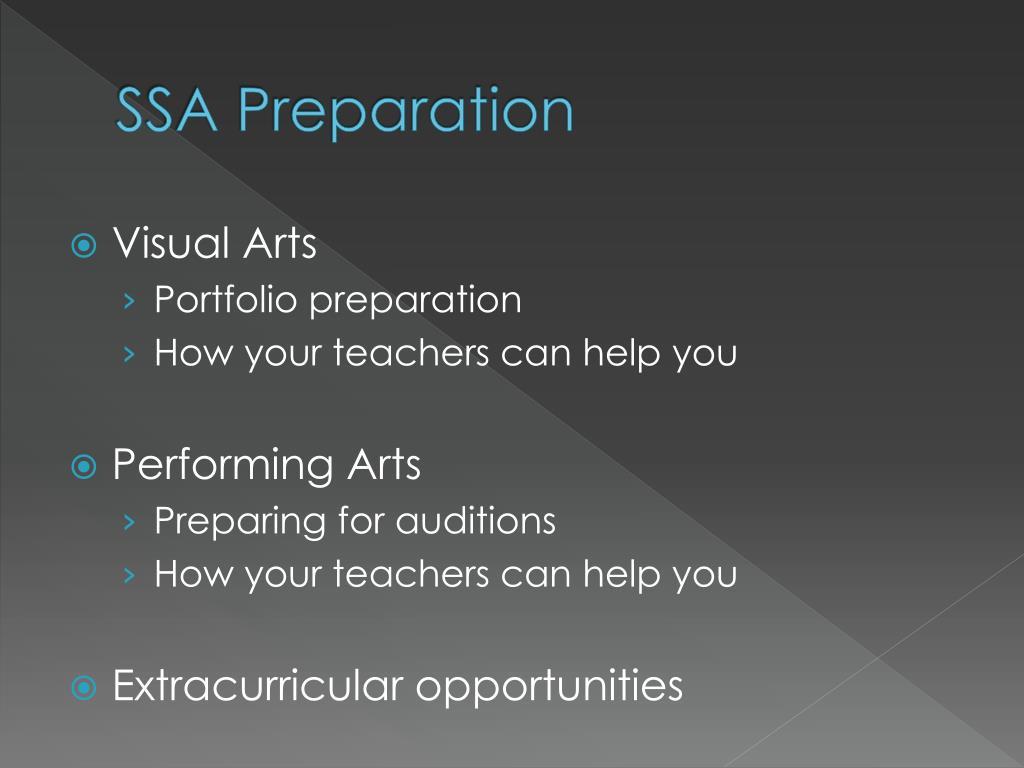 SSA Preparation