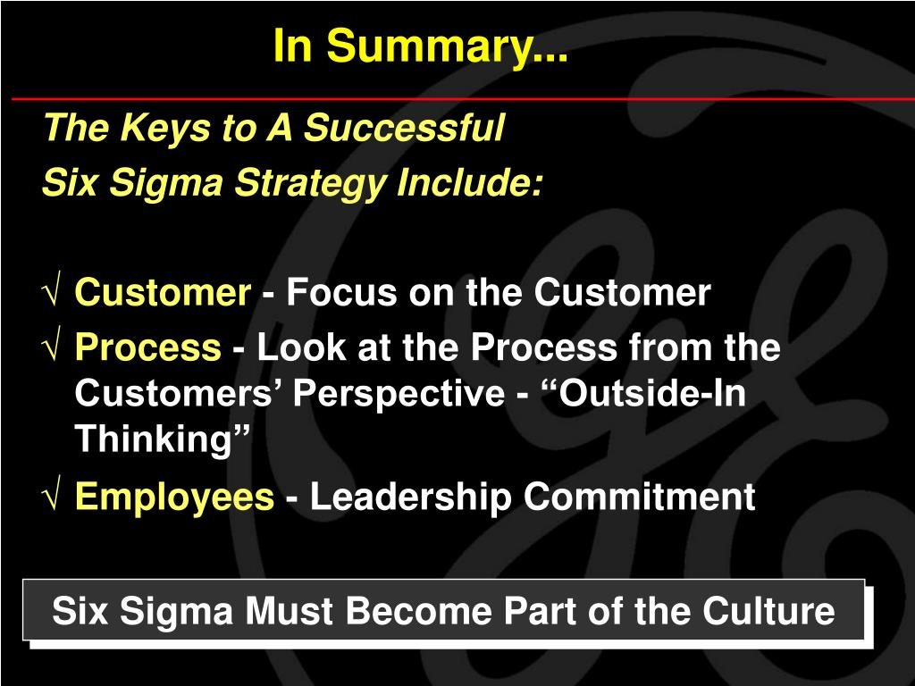 Six Sigma Must Become Part of the Culture