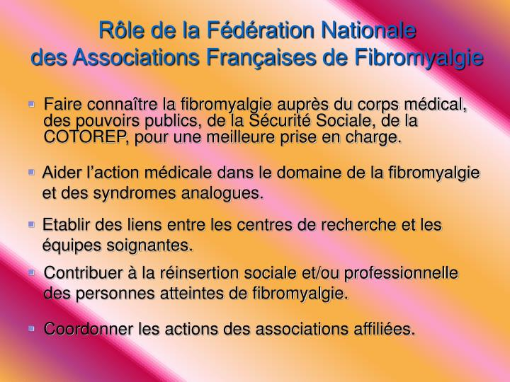 Rôle de la Fédération Nationale