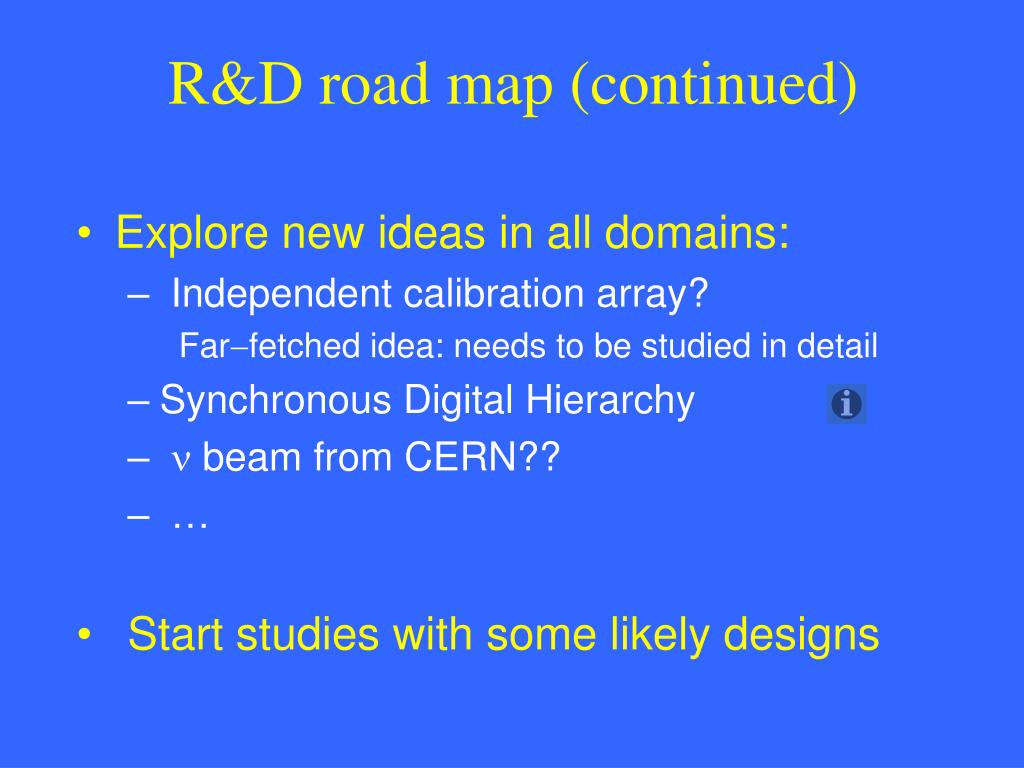 R&D road map (continued)