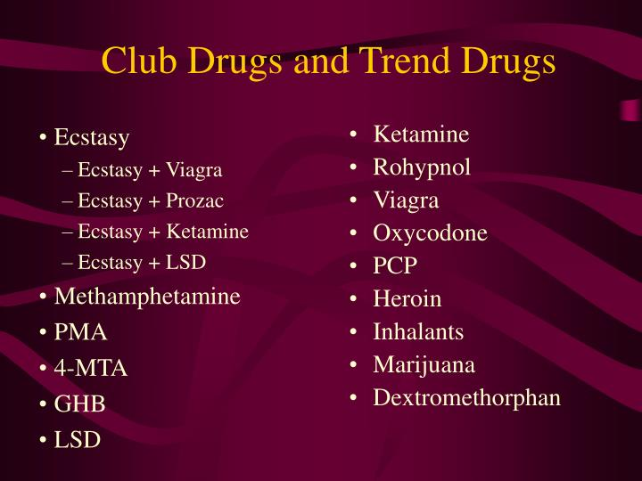 Club Drugs and Trend Drugs