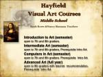 hayfield visual art courses middle school sarah rowe nancy hannans teachers