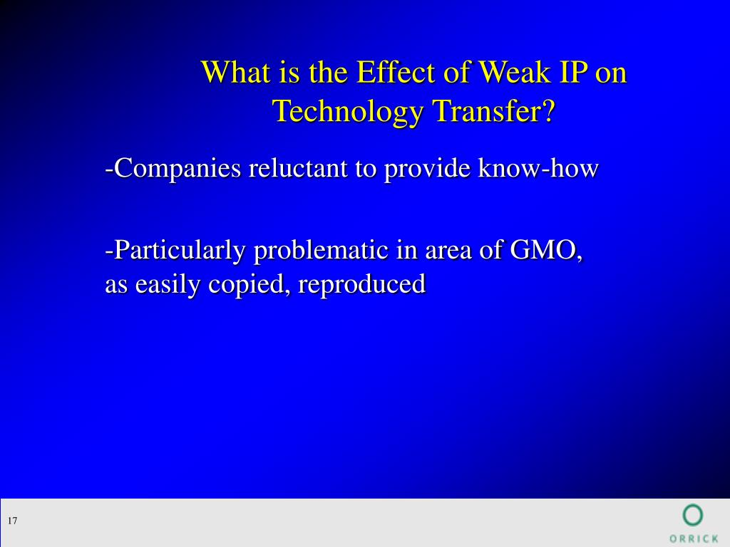 What is the Effect of Weak IP on Technology Transfer?
