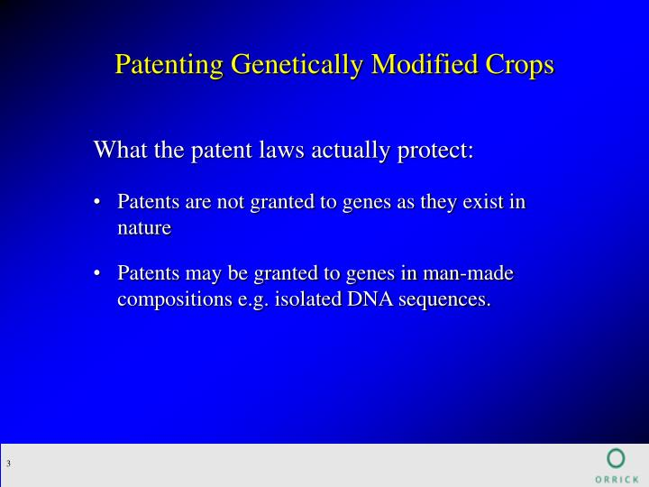 Patenting Genetically Modified Crops