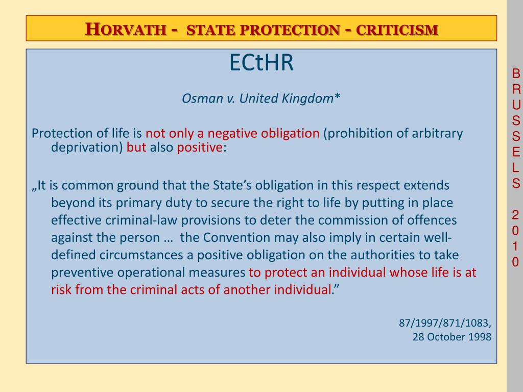 Horvath -  state protection - criticism