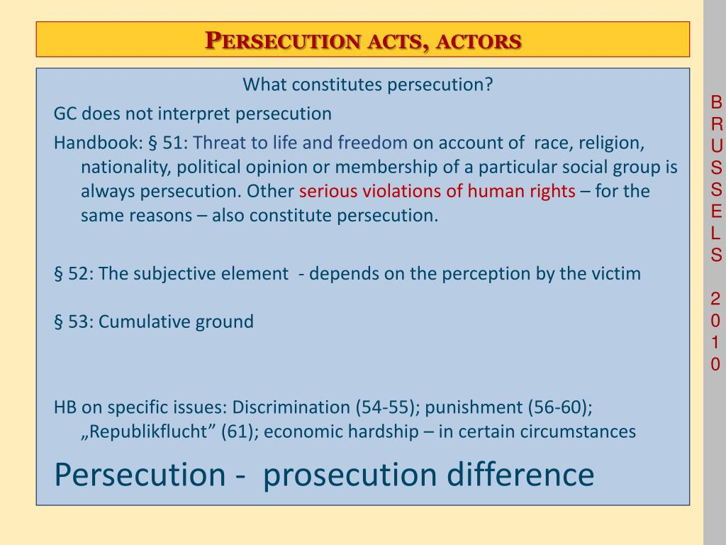 Persecution acts, actors