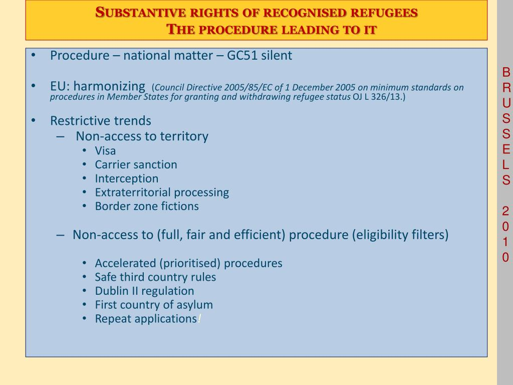 Substantive rights of recognised refugees