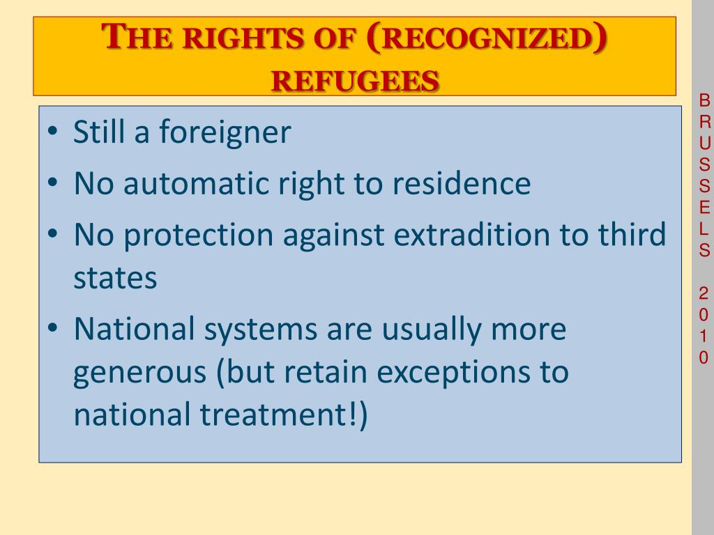 The rights of (recognized) refugees