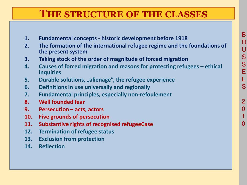 The structure of the classes