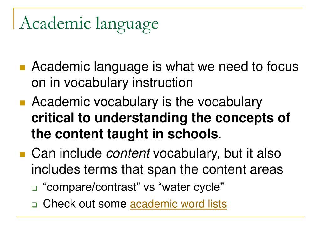 Academic language