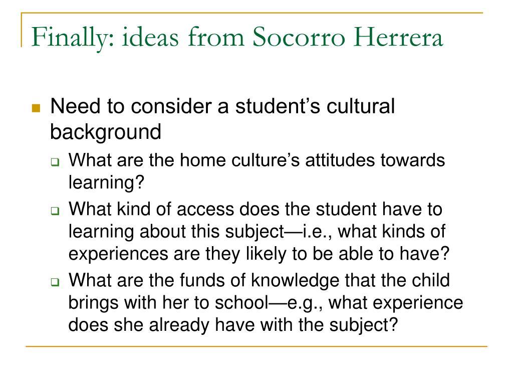 Finally: ideas from Socorro Herrera