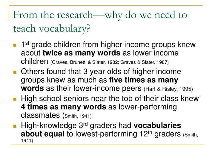 From the research why do we need to teach vocabulary