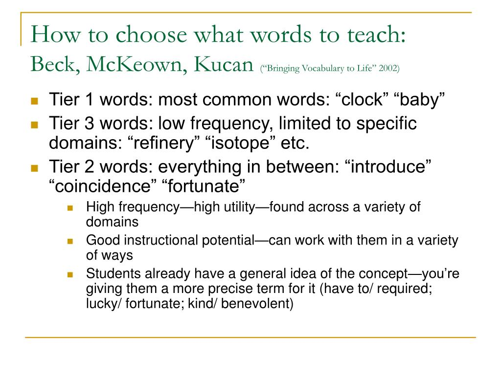 How to choose what words to teach:
