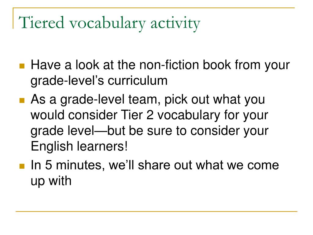 Tiered vocabulary activity