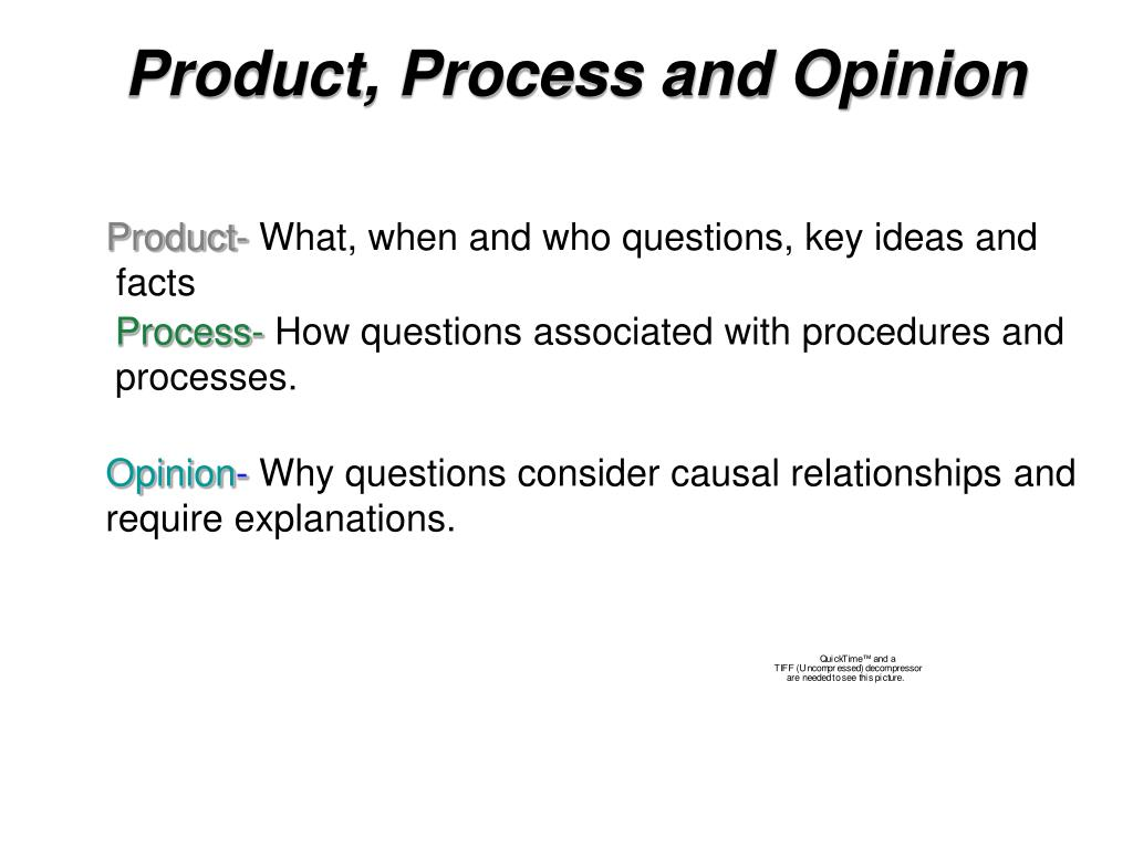 Product, Process and Opinion