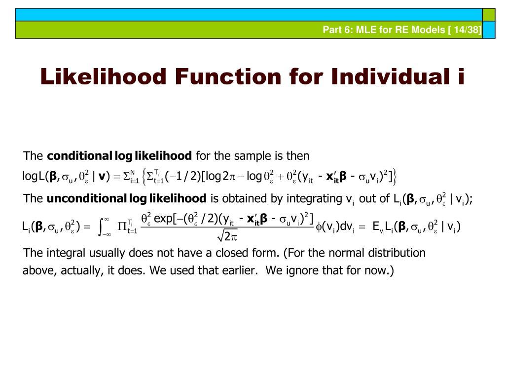 Likelihood Function for Individual i