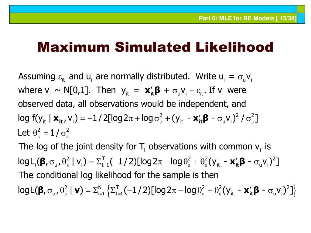 Maximum Simulated Likelihood