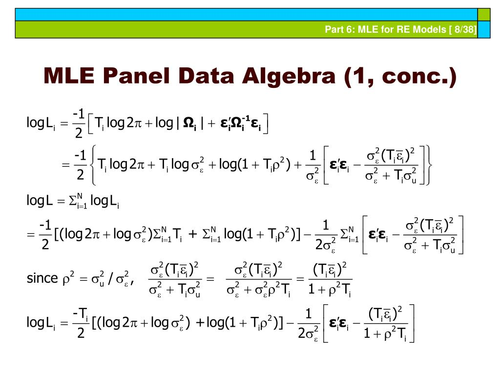 MLE Panel Data Algebra (1, conc.)