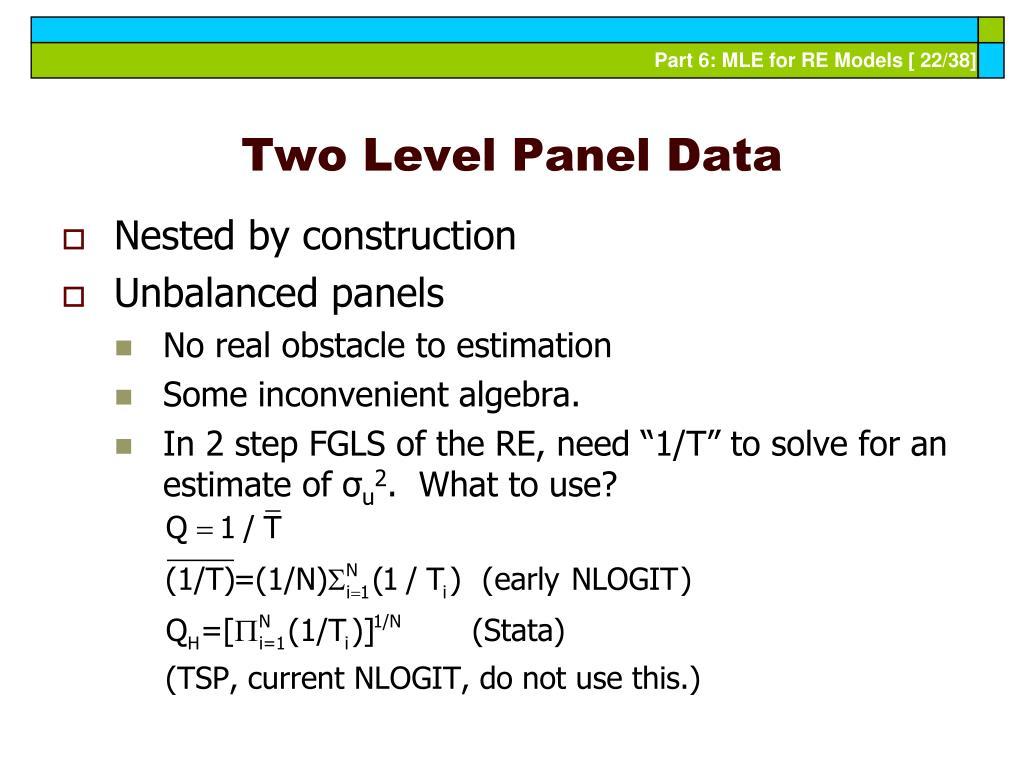 Two Level Panel Data