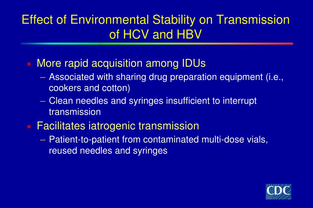 Effect of Environmental Stability on Transmission of HCV and HBV