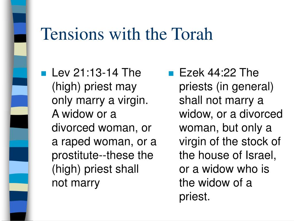 Lev 21:13-14 The (high) priest may only marry a virgin.  A widow or a divorced woman, or a raped woman, or a prostitute--these the (high) priest shall not marry