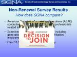non renewal survey results how does sgna compare