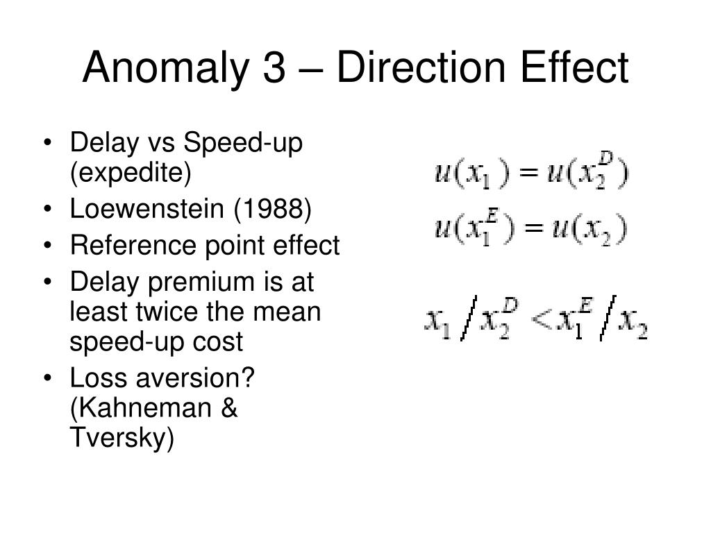 Anomaly 3 – Direction Effect