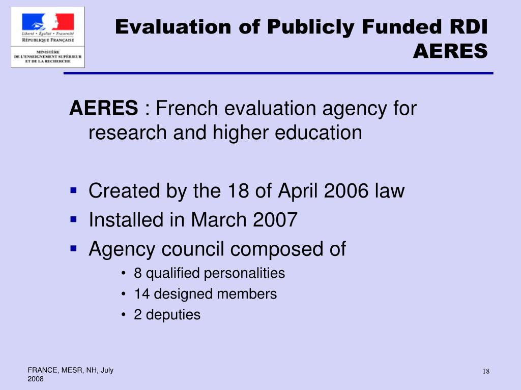 Evaluation of Publicly Funded RDI