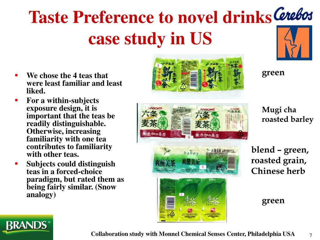 Taste Preference to novel drinks case study in US