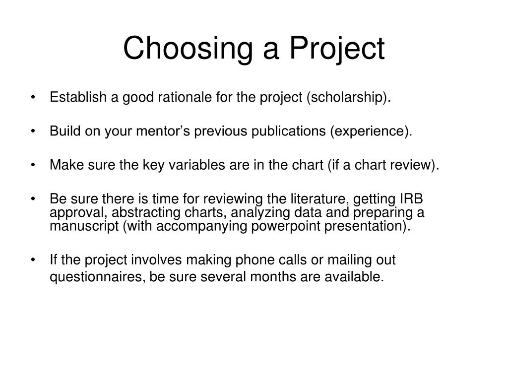 Choosing a Project