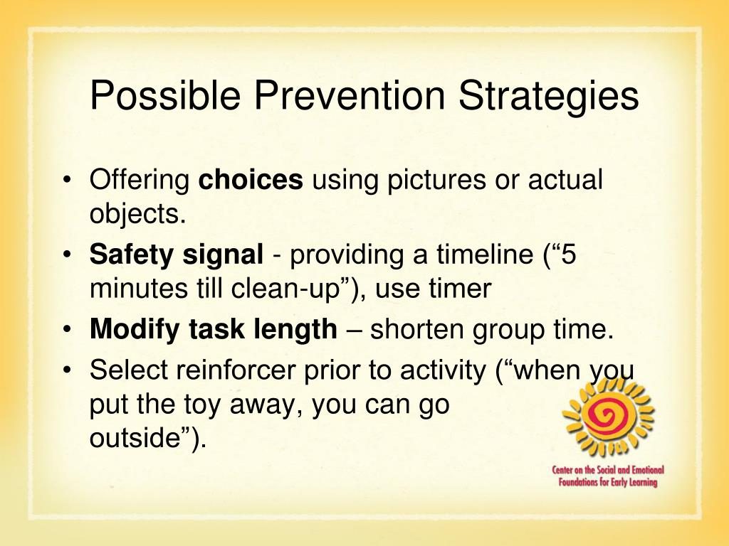 Possible Prevention Strategies