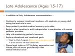 late adolescence ages 15 17