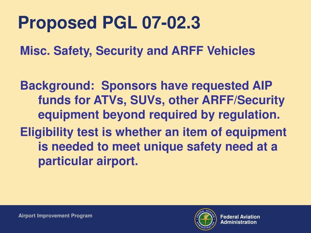 Proposed PGL 07-02.3