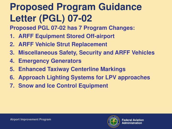 Proposed program guidance letter pgl 07 02