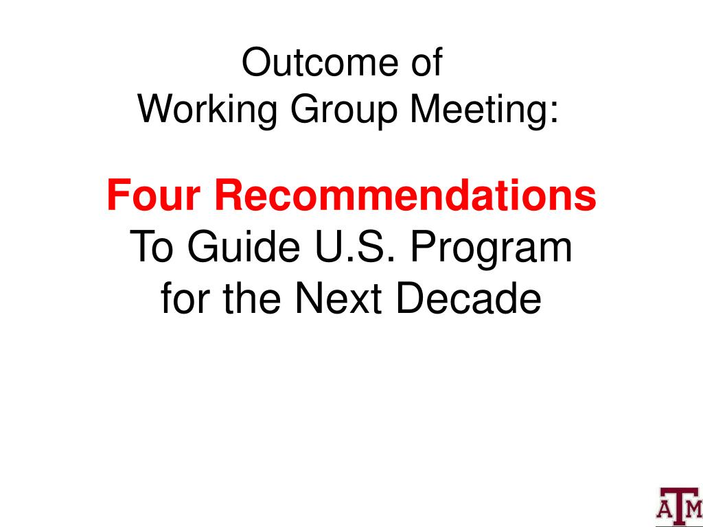 Four Recommendations