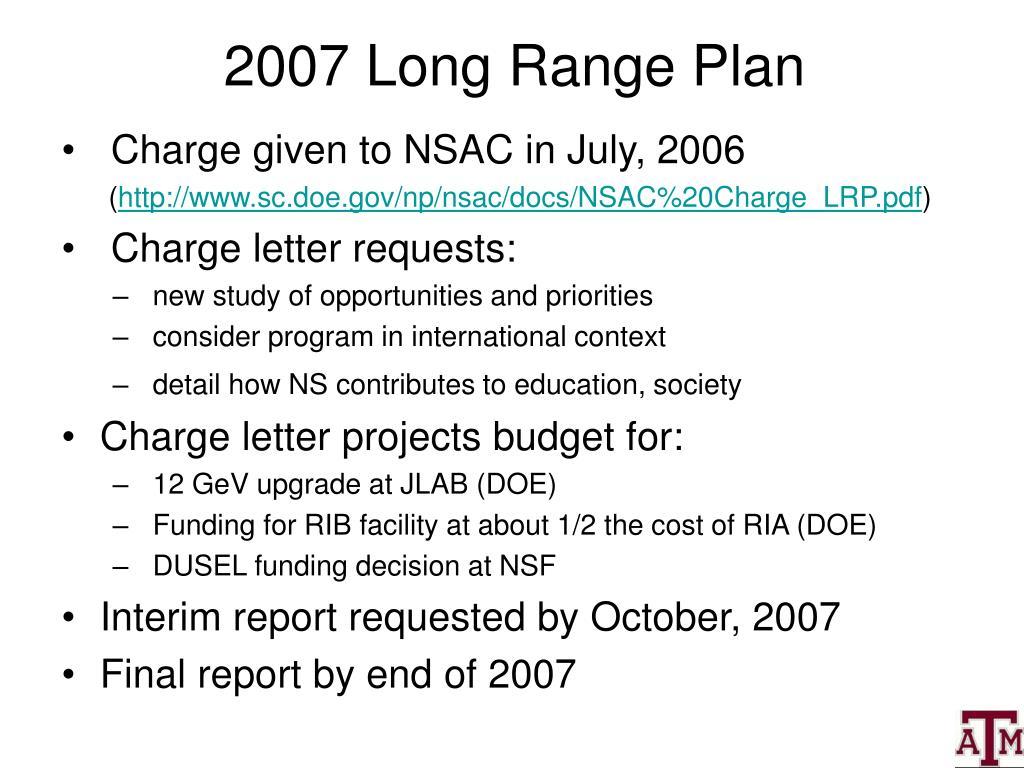 2007 Long Range Plan